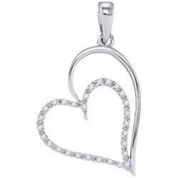 0.12 CTW Diamond Heart Pendant 10KT White Gold - REF-10H5M
