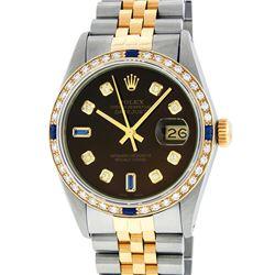 Rolex Mens 2 Tone 14K Brown Diamond & Sapphire 36MM Datejust Wristwatch