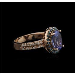 2.56 ctw Tanzanite and Diamond Ring - 14KT Rose Gold