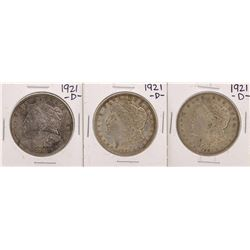 Lot of (3) 1921-D $1 Morgan Silver Dollar Coins