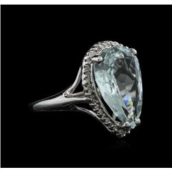 5.70 ctw Aquamarine and Diamond Ring - 14KT White Gold