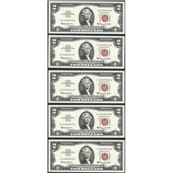 Lot of (5) Consecutive 1963A $2 Legal Tender Notes