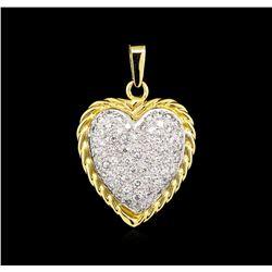 1.20 ctw Diamond Heart Pendant - 14KT Two-Tone Gold