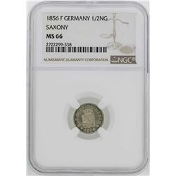 1856 Germany Saxony 1/2 Neu Groschen Coin NGC MS66