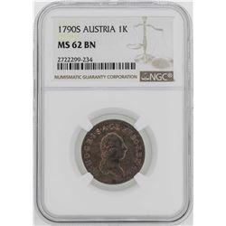 1790-S Austria Joseph II Kreuzer Coin NGC MS62BN