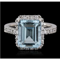14KT White Gold 5.46 ctw Topaz and Diamond Ring