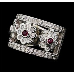 0.95 ctw Diamond and Ruby Band - 14KT White Gold