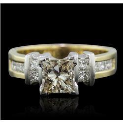 14KT Yellow Gold 1.56 ctw Princess Cut Diamond Ring