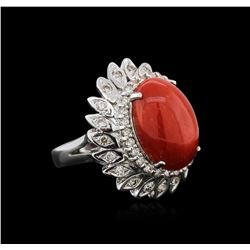 14KT White Gold 9.27 ctw Coral and Diamond Ring