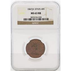 1847JA Spain 4 Maravedia Coin NGC MS63 RB