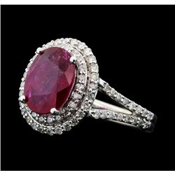 2.52 ctw Ruby And Diamond Ring - 14KT White Gold
