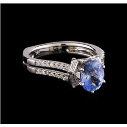 1.46 ctw Sapphire and Diamond Ring - 18KT White Gold