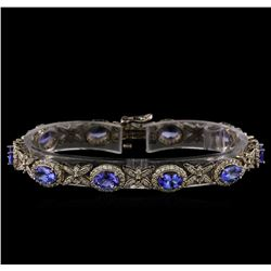 14KT White Gold 7.90 ctw Tanzanite and Diamond Bracelet