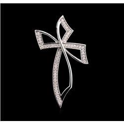 0.94 ctw Diamond Cross Pendant - 14KT White Gold