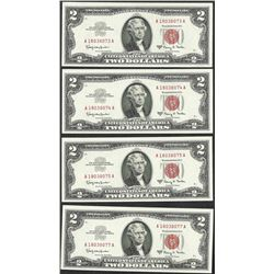 Lot of (4) 1963A $2 Legal Tender Notes