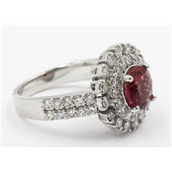 1.63 ctw Pink Tourmaline and Diamond Ring - 14KT White Gold