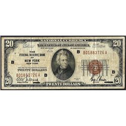 1929 $20 Federal Reserve Bank Note New York