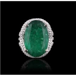 14KT White Gold 13.24 ctw Emerald and Diamond Ring