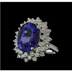 12.04 ctw Tanzanite and Diamond Ring - 14KT White Gold