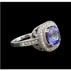4.26 ctw Tanzanite and Diamond Ring - 14KT White Gold
