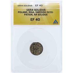 1654 Poland Solidus Coin ANACS EF40