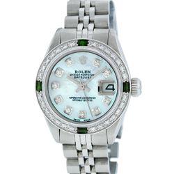Rolex Ladies Stainless Steel Blue MOP Diamond & Emerald Datejust Wristwatch