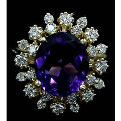 3.66 ctw Amethyst and Diamond Ring - 14KT Yellow Gold