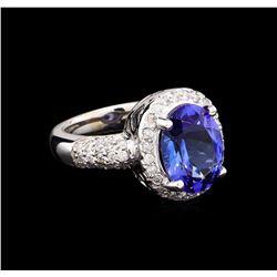 4.80 ctw Tanzanite and Diamond Ring - 14KT White Gold