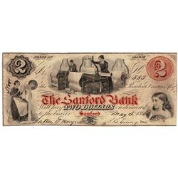 1860 $2 The Sanford Bank, ME Obsolete Bank Note