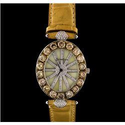 Richard Junot Big Oval 18KT White Gold 10.42 ctw Diamond Watch