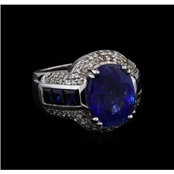 12.45 ctw Sapphire and Diamond Ring - 14KT White Gold