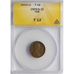 1909-S VDB Lincoln Wheat Cent Coin ANACS F12