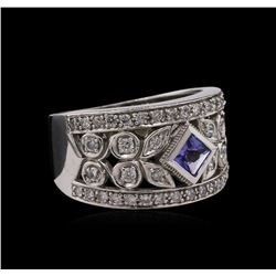 0.32 ctw Tanzanite and Diamond Ring - 14KT White Gold