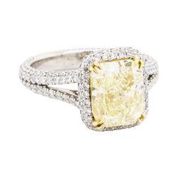 4.02 ctw Fancy Intense Yellow Diamond and White Diamond Ring - Platinum