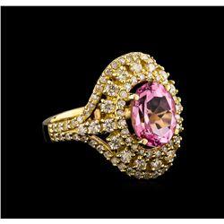 14KT Yellow Gold 2.81 ctw Kunzite and Diamond Ring