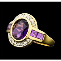 2.25 ctw Amethyst and Diamond Ring - 14KT Yellow Gold