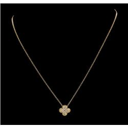 0.16 ctw Diamond Pendant with Chain - 18KT Rose Gold