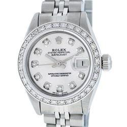 Rolex Ladies Stainless Steel Silver Diamond 26MM Datejust Wristwatch