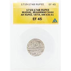 1719-1748 Rupee Mughal Muhammad Shah AR Tatta Coin ANACS EF45