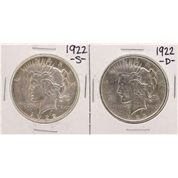 Lot of 1922-S & 1922-D $1 Peace Silver Dollar Coins