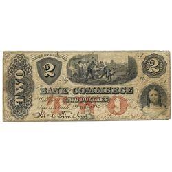 1861 $2 Bank of Commerce, Savannah, GA Obsolete Bank Note