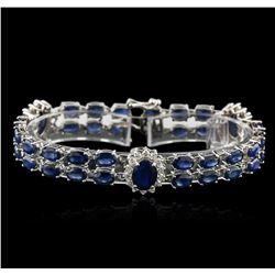 14KT White Gold 27.50 ctw Sapphire and Diamond Bracelet