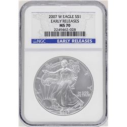 2007-W $1 American Silver Eagle Coin NGC MS70 Early Releases