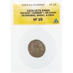 1524-1576 Shahi Safavid Tahmasp I AR Shahi Astarabad Coin ANACS VF25