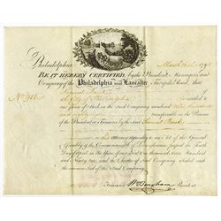 Philadelphia and Lancaster Turnpike, 1795 Stock Certificate Signed by William Bingham.