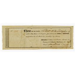 Bank of Baltimore, 1798 Issued Stock Certificate.