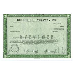 Berkshire Hathaway Inc. 1973 (1988) Specimen Stock Certificate with Warren Buffet Facsimile Signatur