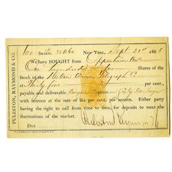 Puleston, Raymond & Company Stock Option with 5ct Lincoln Imprinted Revenue Stamp.