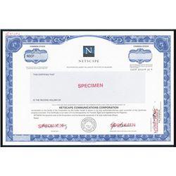 Netscape Specimen 1994 IPO Stock Certificate.