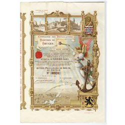 Compagnie des Installations Maritime de Bruges, 1904 Issued Bond.